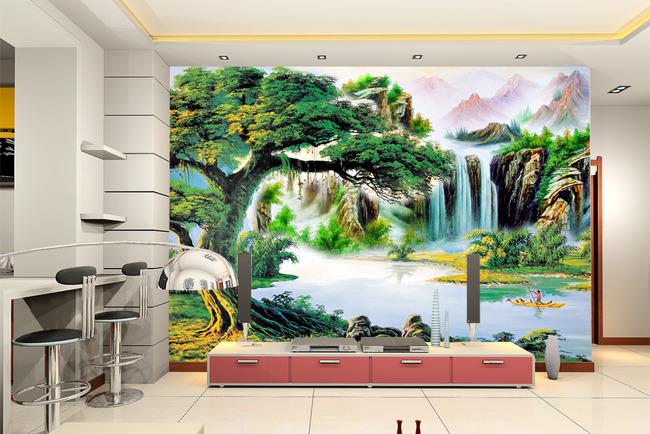 油画山水风景画流水生财欧式欧洲油画背景墙