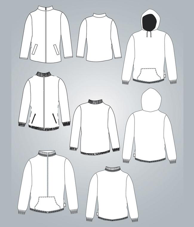 卫衣服装设计模板矢量素材-上衣设计-服装手稿
