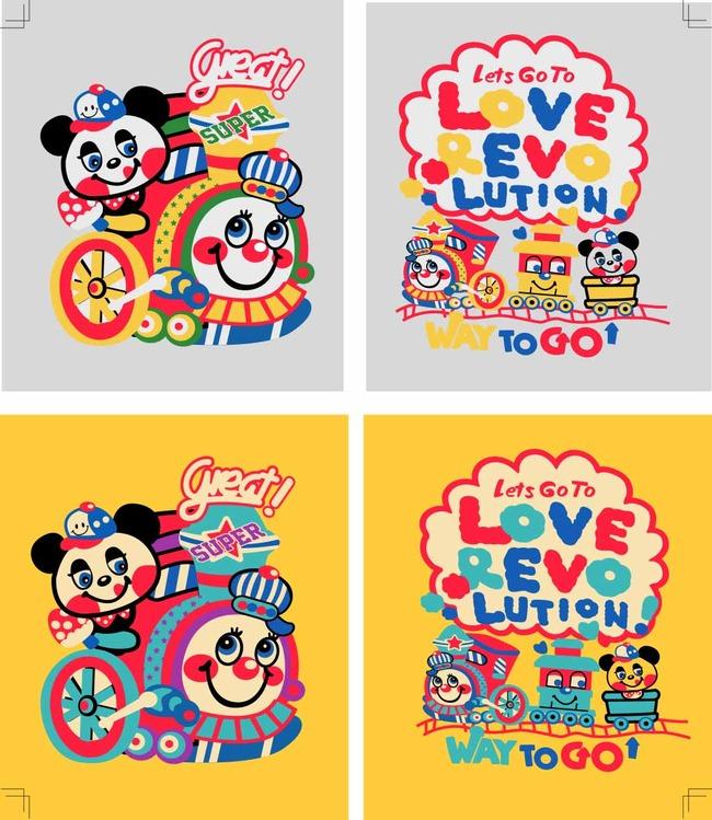 可爱卡通火车熊猫矢量图印花-布料插画-插画|元素|卡通