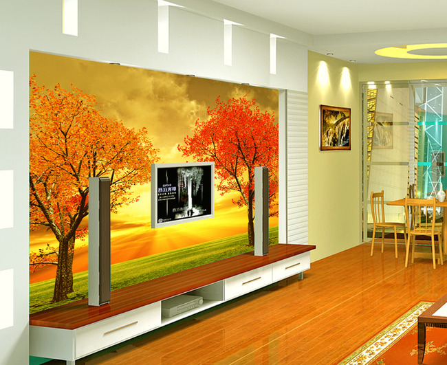 秋季树木风景油画背景墙-油画|立体油画电视背景墙