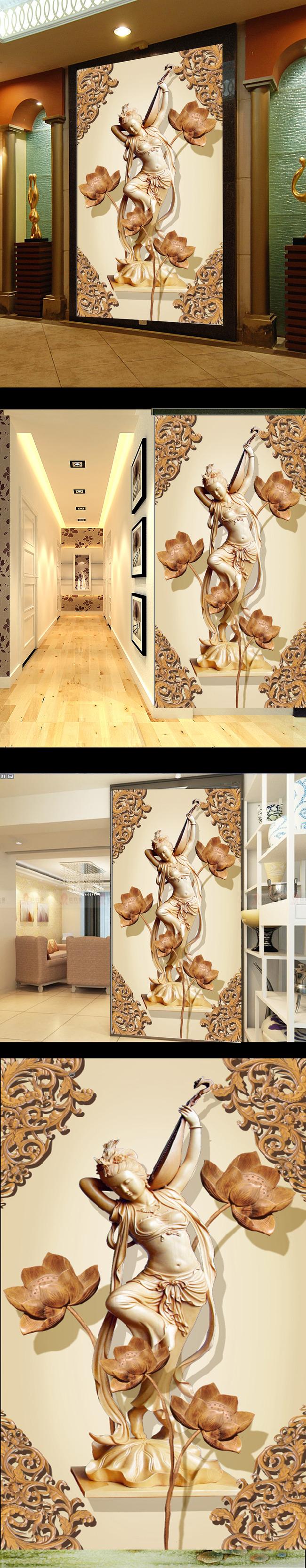 客厅木雕荷花美女玄关背景墙图片