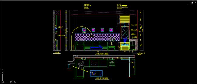 沙发背景平面图立面图设计