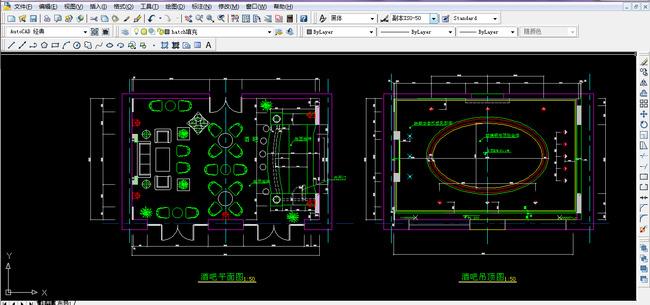 酒吧cad图纸设计附带施工材质说明-工装施工cad图纸