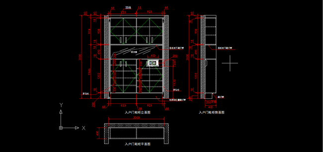 室内装修简欧入户门鞋柜cad图纸设计下载