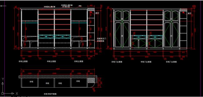 室内装修 简欧 衣柜 书柜 cad图纸 设计 下载