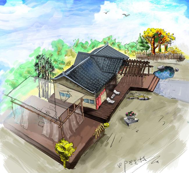中国风手绘中式建筑psd分层素材