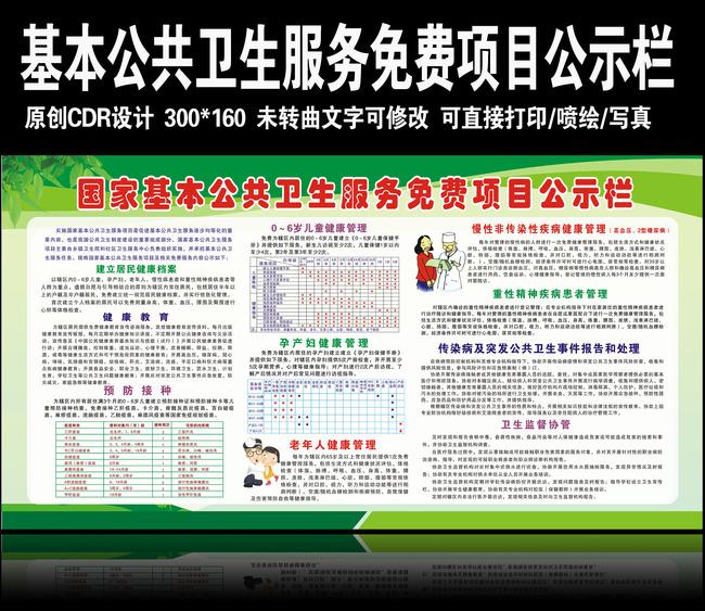 国家基本公共卫生服务免费项目公示栏