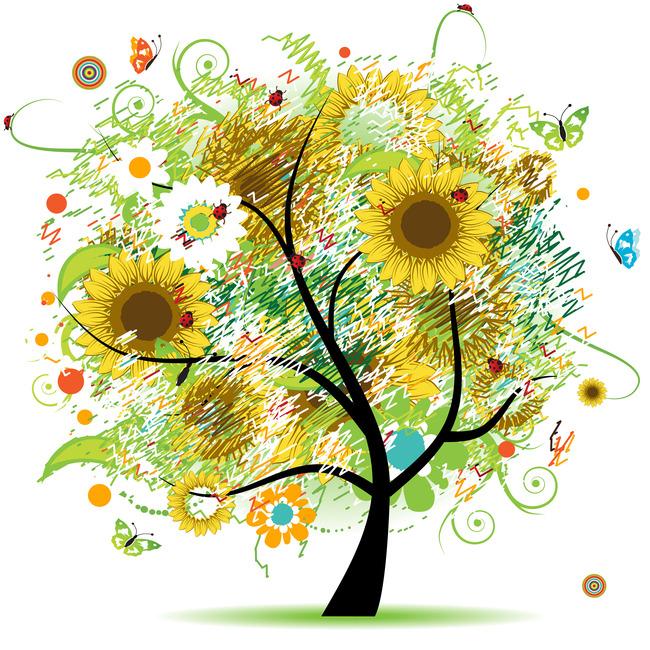 高清卡通发财树幸福树素材