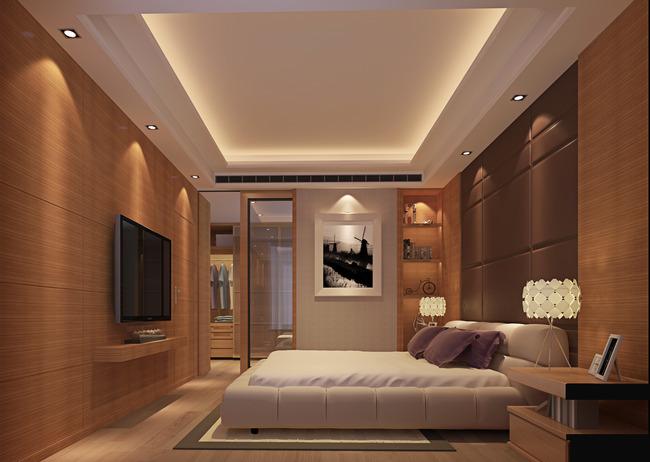 【】最新3d现代中式主卧室含高清效果图