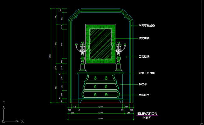 关键词:端景台CAD图纸设计附带施工材质说明图片下载 端景台剖面图 立面图 KTV包厢端景台剖面图 背景墙 玄关装饰 隔断背景CAD施工详图下载 说明:欧式玄关背景墙装饰柜CAD图纸