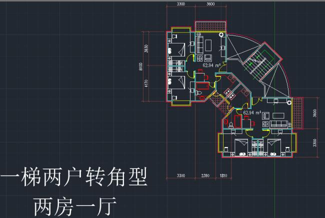 室内设计 户型图 立面图 剖面图 源文件 住宅户型 说明:一梯两户转角