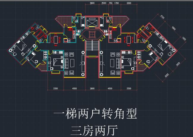 【dwg】一梯两户转角型三房两厅户型图cad图纸