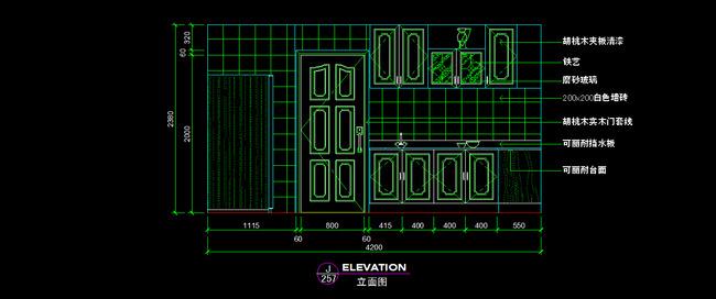 厨房立面cad图纸设计附材质说明