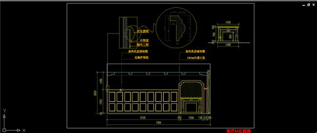 室内装潢别墅客厅电视背景立面图源文件下载-cad图纸