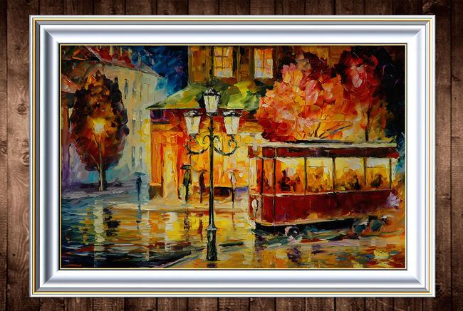 古城街道夜色风景油画