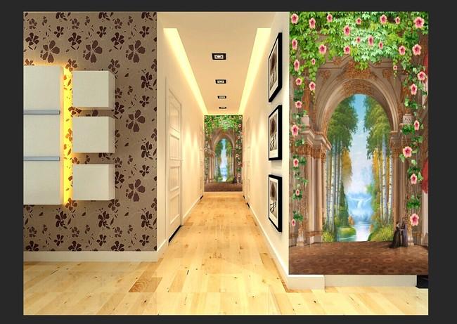高清3d欧式山水玄关背景墙