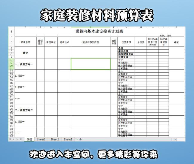 家庭装修材料预算表