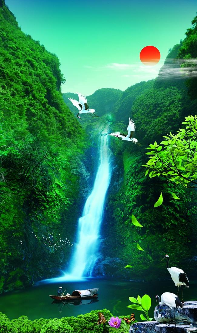 【psd】高山流水山水风景画