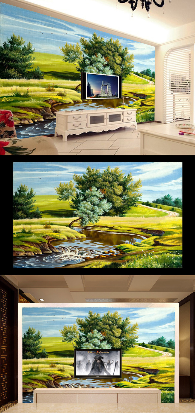 希望的草源田园风景油画壁画客厅电视背景墙