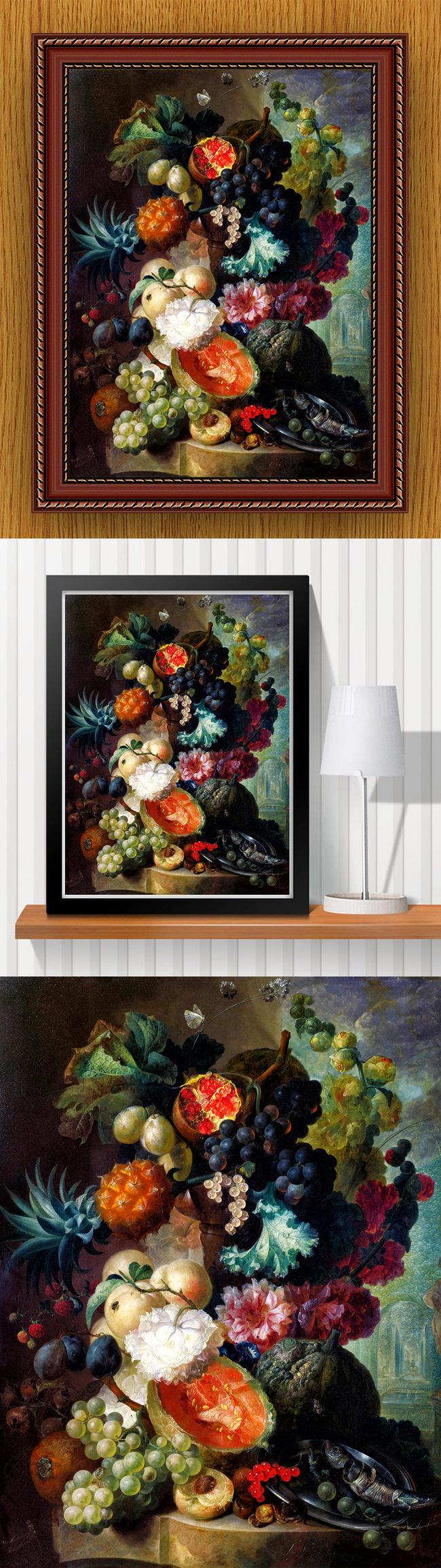 【】高清手绘欧式古典写实风格花卉水果油画