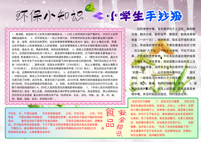 【psd】小学生手抄报电子小报psd模版下载图片