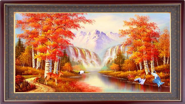 山水风景杨树树林装饰画国画水墨画油画