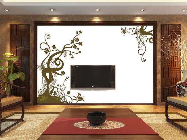 简约树手绘背景墙-现代简约电视背景墙-电视背景墙