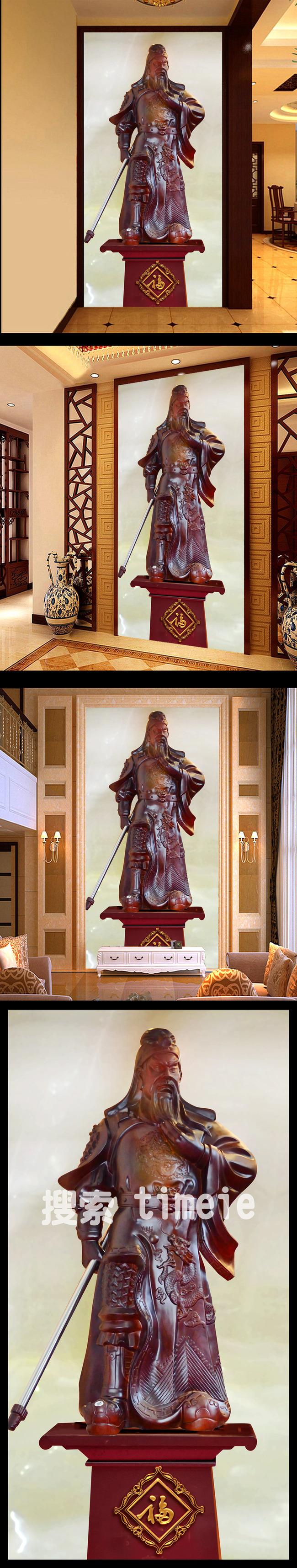 关公木雕壁画玄关图