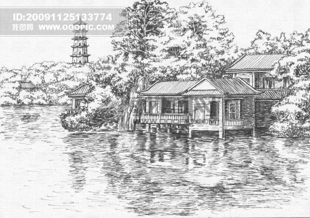 西湖手绘简笔画路线图